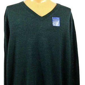 Apt. 9 Merino Wool Blend V Neck Sweater 4XB Green